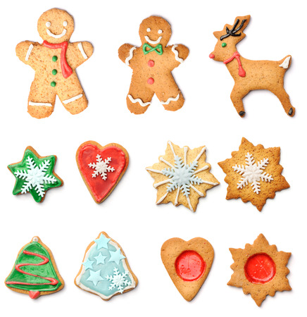 Christmas gingerbread cookies collection set isolated on white Stock Photo - 22855286