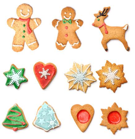 Weihnachtslebkuchenplätzchen Sammlung isoliert auf weiss Lizenzfreie Bilder