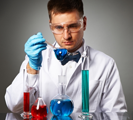 Scientist in protective glasses at laboratory Stock Photo - 22847460