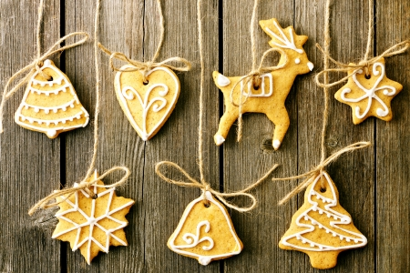 christmas food: Christmas homemade gingerbread cookies over wooden table