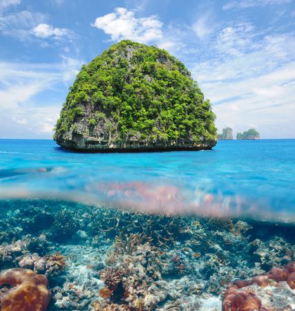 onbewoond: Mooie onbewoond eiland in Thailand met koraalrif bodem onder water en boven water split view Stockfoto