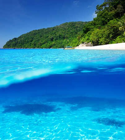 Beautiful beach with white sand bottom underwater and above water split view photo