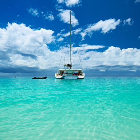 lazio: Beautiful beach with boat at Seychelles, Praslin, Anse Lazio