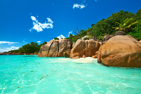 Beautiful beach at Seychelles, Praslin, Anse Lazio photo