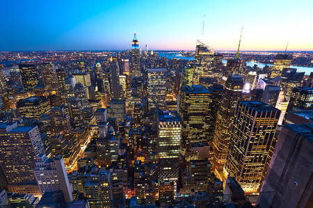 empire state: Cityscape view of Manhattan with Empire State Building, New York City, USA at night Stock Photo