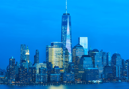 New York City Manhattan skyline with One World Trade Center Tower (AKA Freedom Tower) over Hudson River viewed from New Jersey photo