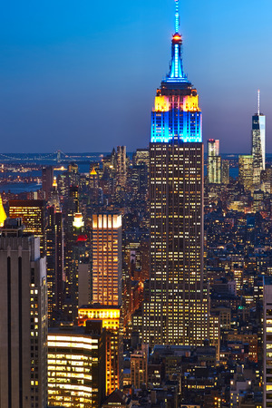 empire state: Cityscape view of Manhattan with Empire State Building, New York City, USA at night Editorial