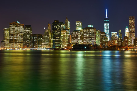 Lower Manhattan skyline view at night from Brooklyn in New York City