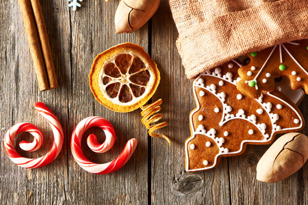 Christmas homemade gingerbread cookies on wooden table photo