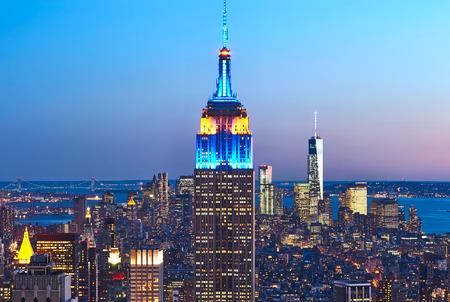 Cityscape uitzicht op Manhattan met Empire State Building, New York City, USA 's nachts