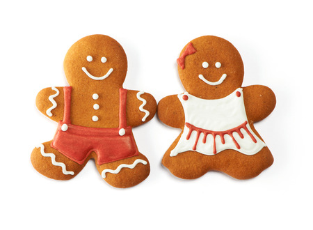 Christmas gingerbread couple cookies isolated on white 스톡 콘텐츠