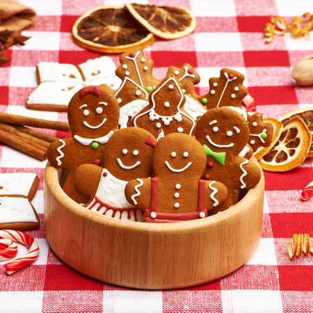 Christmas homemade gingerbread cookies on table photo