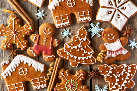 sweet pastries: Christmas homemade gingerbread cookies on wooden table