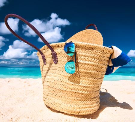 Beautiful beach with bag at Seychelles, La Digue photo
