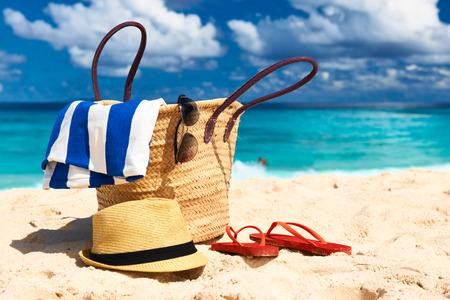 towels: Beautiful beach with bag at Seychelles, La Digue Stock Photo