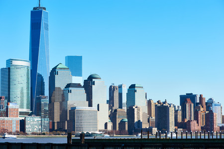 new jersey: New York City Manhattan skyline with One World Trade Center Tower (AKA Freedom Tower) over Hudson River viewed from New Jersey