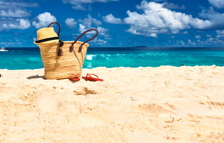 Beautiful beach with bag at Seychelles, La Digue Stock Photo