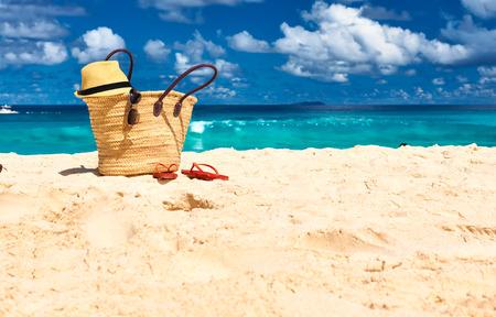 Beautiful beach with bag at Seychelles, La Digue Imagens
