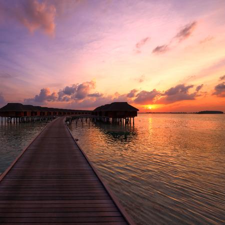 beautiful sunset: Beautiful sunset at Maldivian beach
