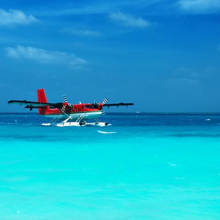 hydroplane: Twin otter red seaplane at Maldives Stock Photo