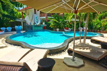 seychelles: Luxury poolside area at Seychelles