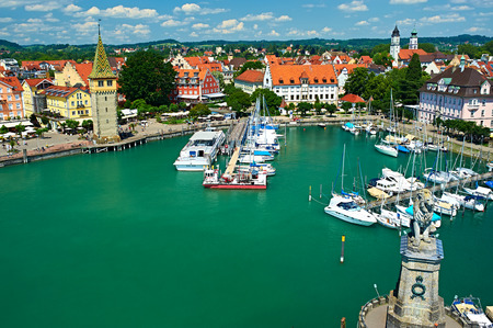 Boats at port of Lindau harbour, Lake Constance, Bavaria, Germany