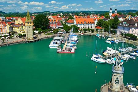 on lake: Boats at port of Lindau harbour, Lake Constance, Bavaria, Germany