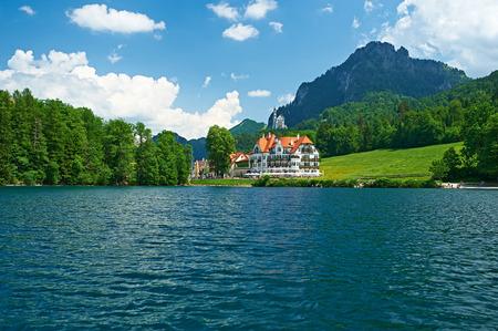 lake house: Alpsee lake at Hohenschwangau near Munich in Bavaria, Germany