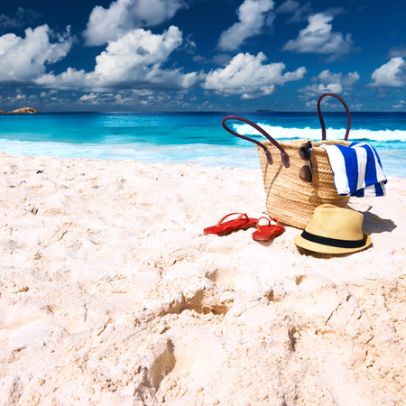 Beautiful beach with bag at Seychelles, La Digue photo