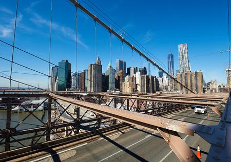 lower manhattan: Lower Manhattan skyline view from Brooklyn Bridge in New York City
