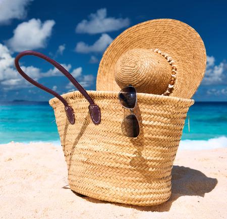digue: Beautiful beach with bag at Seychelles, La Digue Stock Photo