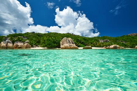 d'argent: Beautiful beach at Seychelles, La Digue, Anse Source dArgent