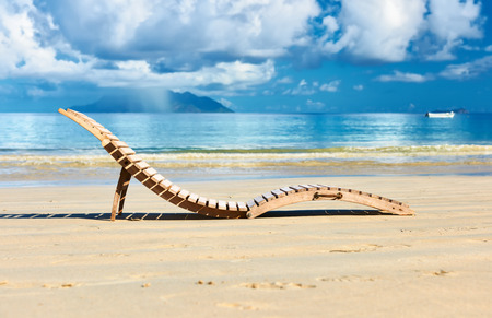 Beautiful beach with lounger at Seychelles, Mahe photo