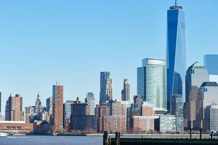 New York City Manhattan skyline over Hudson River viewed from New Jersey photo
