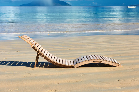 lounger: Beautiful beach with lounger at Seychelles, Mahe
