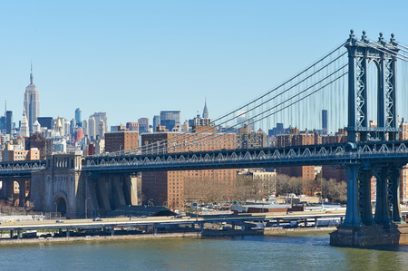 manhattan bridge: Manhattan Bridge and skyline view from Brooklyn Bridge in New York City Stock Photo