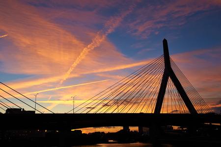 bunker: Zakim Bunker Hill Memorial Bridge at sunset in Boston, Massachusetts Stock Photo