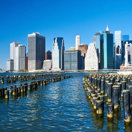Lower Manhattan skyline view from Brooklyn Bridge Park in New York City photo