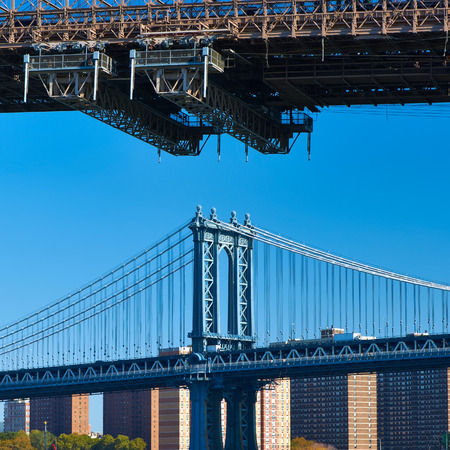 manhattan bridge: Manhattan Bridge and skyline in New York City Stock Photo