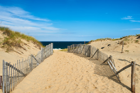 Path way to the beach at Cape Cod, Massachusetts, USA. Imagens