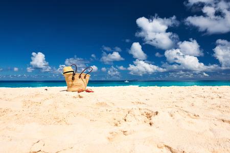 Beautiful beach with bag at Seychelles, La Digue Reklamní fotografie