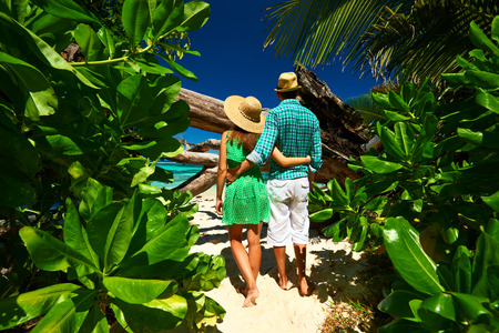 jungle girl: Couple walking to the beach Anse Source dArgent among tropical foliage at Seychelles, La Digue.