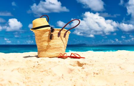 la digue: Beautiful beach with bag at Seychelles, La Digue Stock Photo