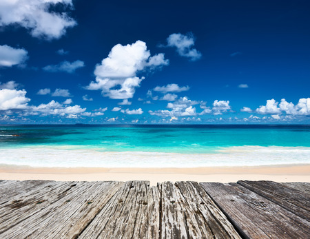 la digue: Beautiful beach and old wooden pier at Seychelles, La Digue
