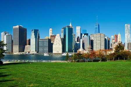 city park skyline: Lower Manhattan skyline view from Brooklyn Bridge Park in New York City
