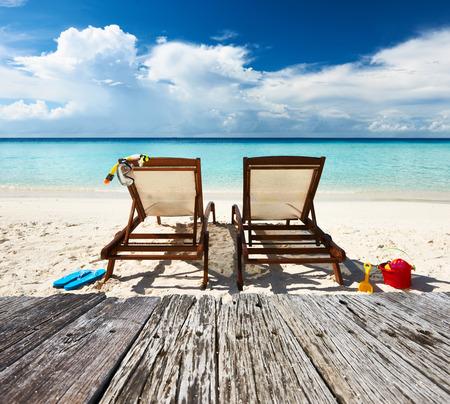 deck chair: Tropical beach with chaise lounge at Maldives
