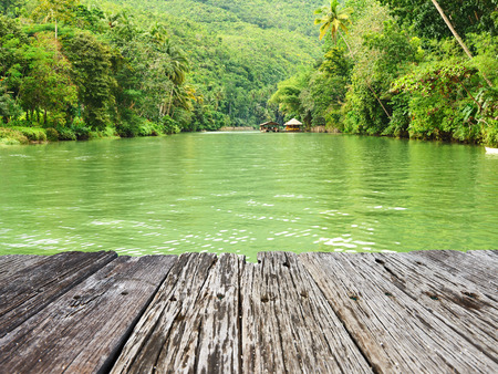 flowing river: Tropical River running through rainforest Stock Photo