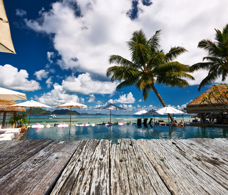 poolside: Luxury poolside jetty at Seychelles