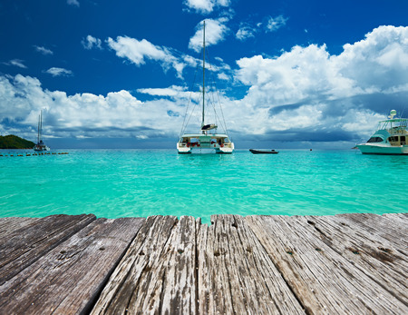 lazio: Beautiful beach with boats at Seychelles, Praslin, Anse Lazio