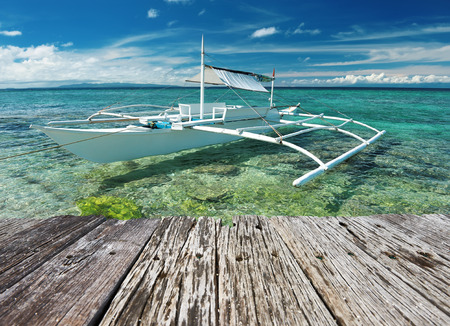 bohol: Beautiful beach with boat at Balicasag island, Philippines Stock Photo